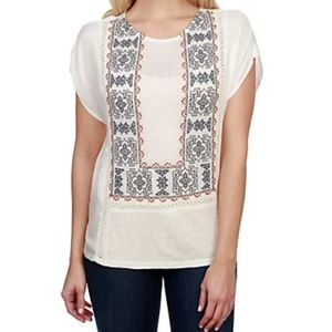 Lucky Brand embroidered mix top L